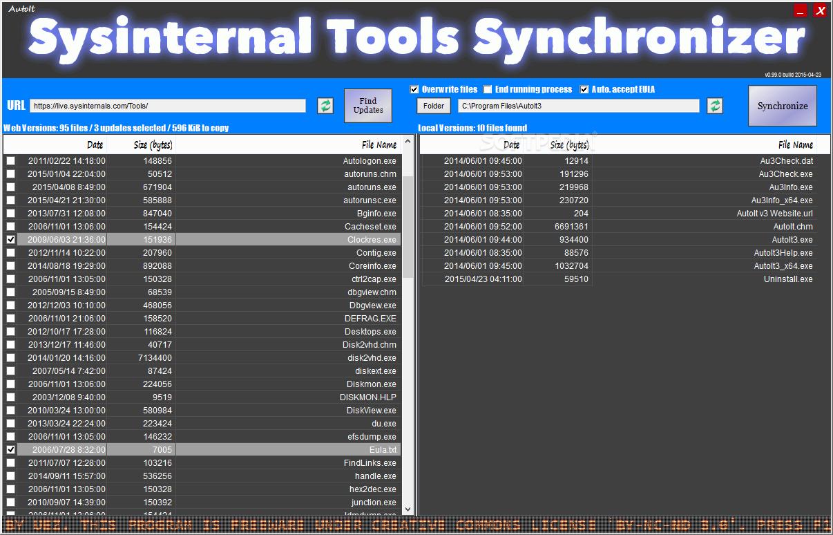 Download AutoIt Sysinternal Tools Synchronizer 0 99 1 Build