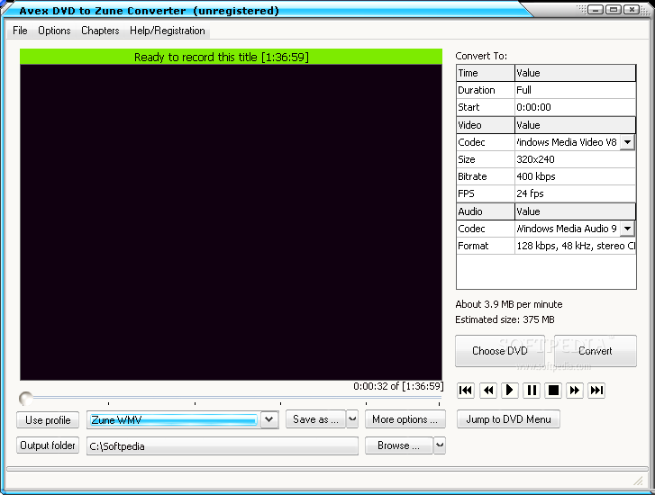 Avex Mobile Video Converter - This is the main window of Avex Mobile Video