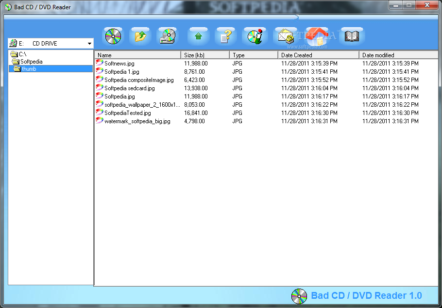 BAD CD / DVD Reader screenshot 1 - With the help of this application you can view and copy files from several CDs and DVDs.