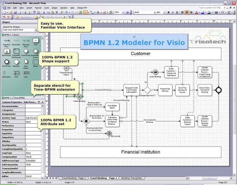 Bpmn 1 2 Modeler For Visio Screenshot