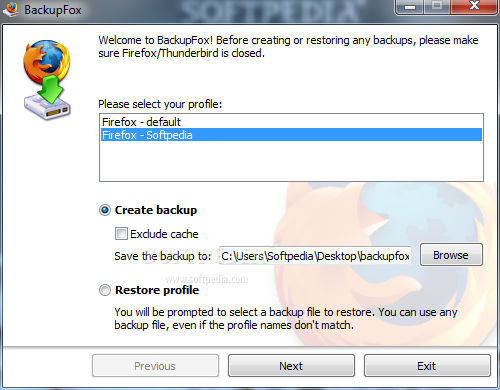 BackupFox screenshot 1 - In this window of BackupFox you can restore or backup your Mozilla Firefox profile.