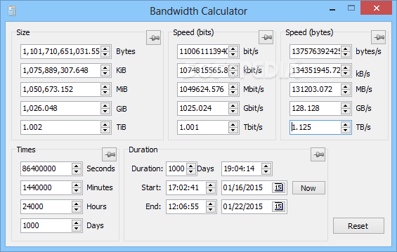 Download Bandwidth Calculator 0 3