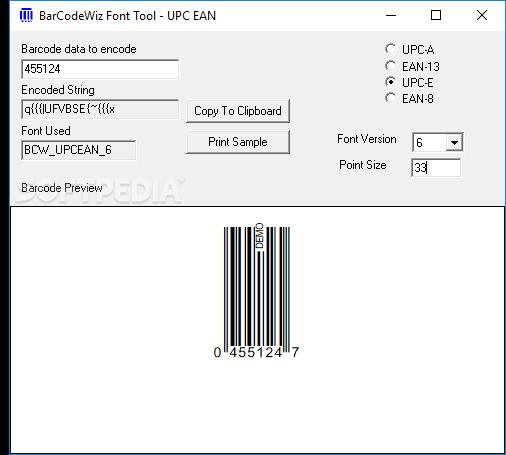 Download BarCodeWiz UPC EAN Barcode Fonts 5 10