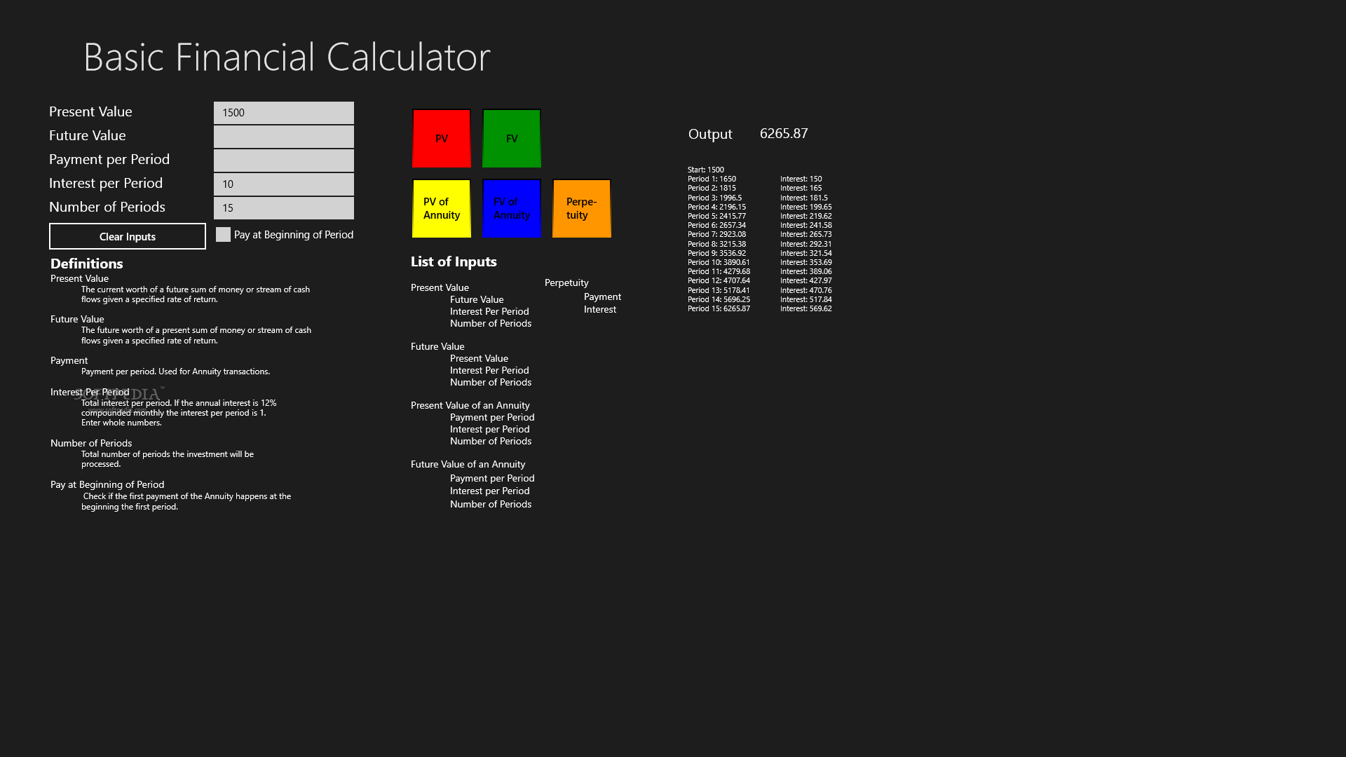Basic Financial Calculator For Windows 8 Interface Displays The Formula Details And