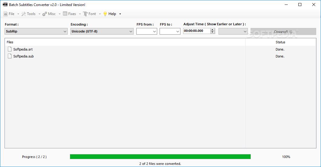 Download Batch Subtitles Converter 2 8