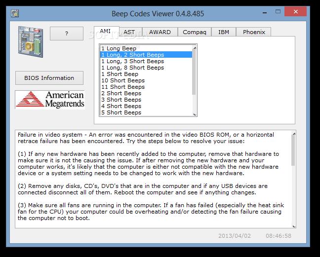 Download BIOS Beep Codes Viewer 1 0 3 1036
