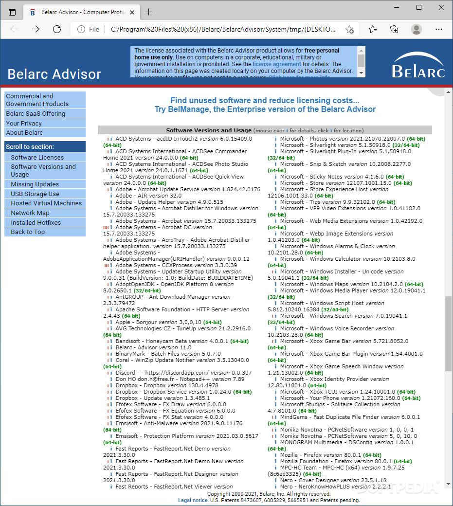 Download Belarc Advisor 9 0