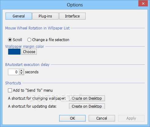 Bgcall screenshot 2 - From the Options window, you can easily set the wallpaper margin color and the autostart execution delay.