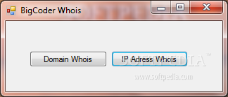 BigCoder Whois screenshot 1 - BigCoder Whois is a handy and reliable utility designed to deliber WhoIs information about domains and IP addresses.