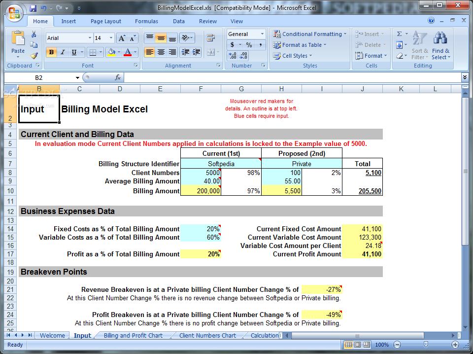 download billing model excel 40 build 20101004