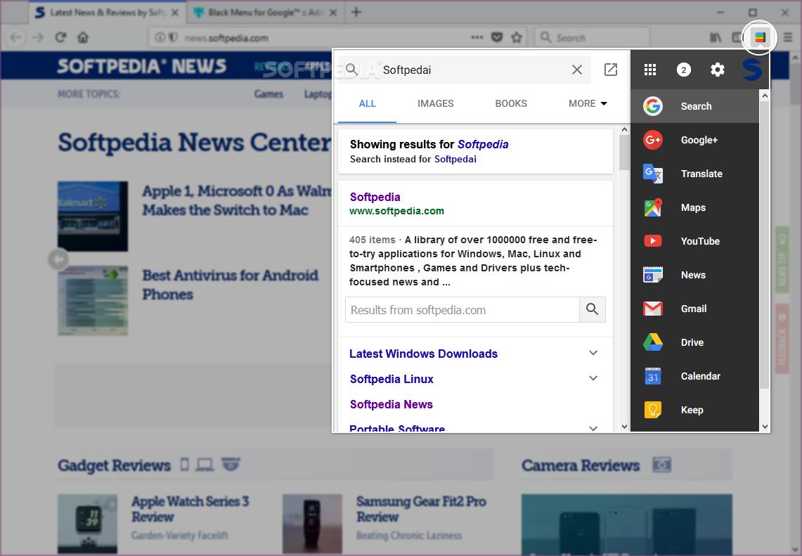 Download Black Menu for Google for Firefox 20 9 0