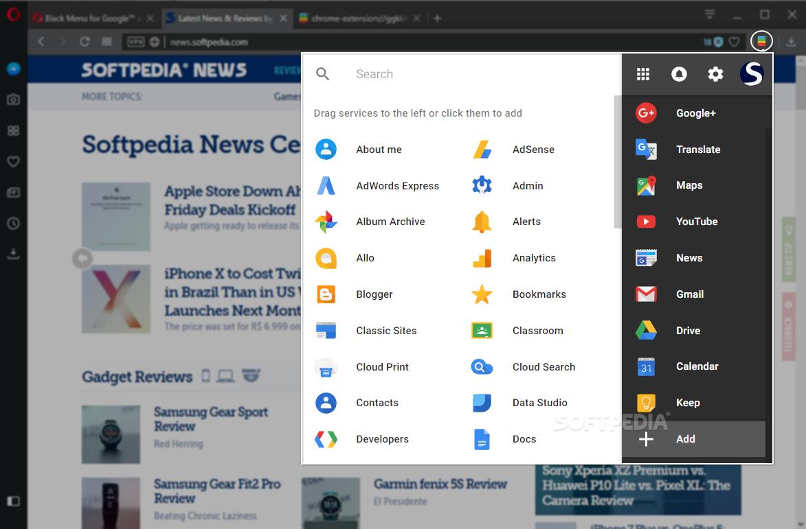 Download Black Menu for Google for Opera 20 8 0