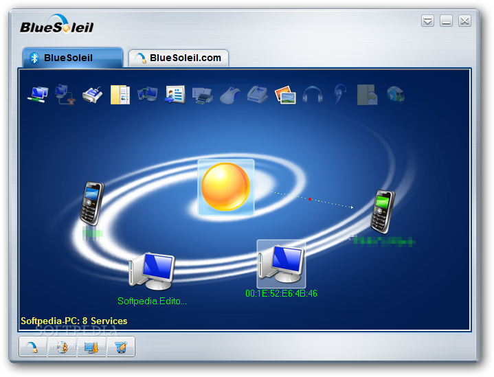 BlueSoleil screenshot 1 - BlueSoleil will help you exchange or synchronize personal information, name cards etc with other laptops, PDAs or mobile phones