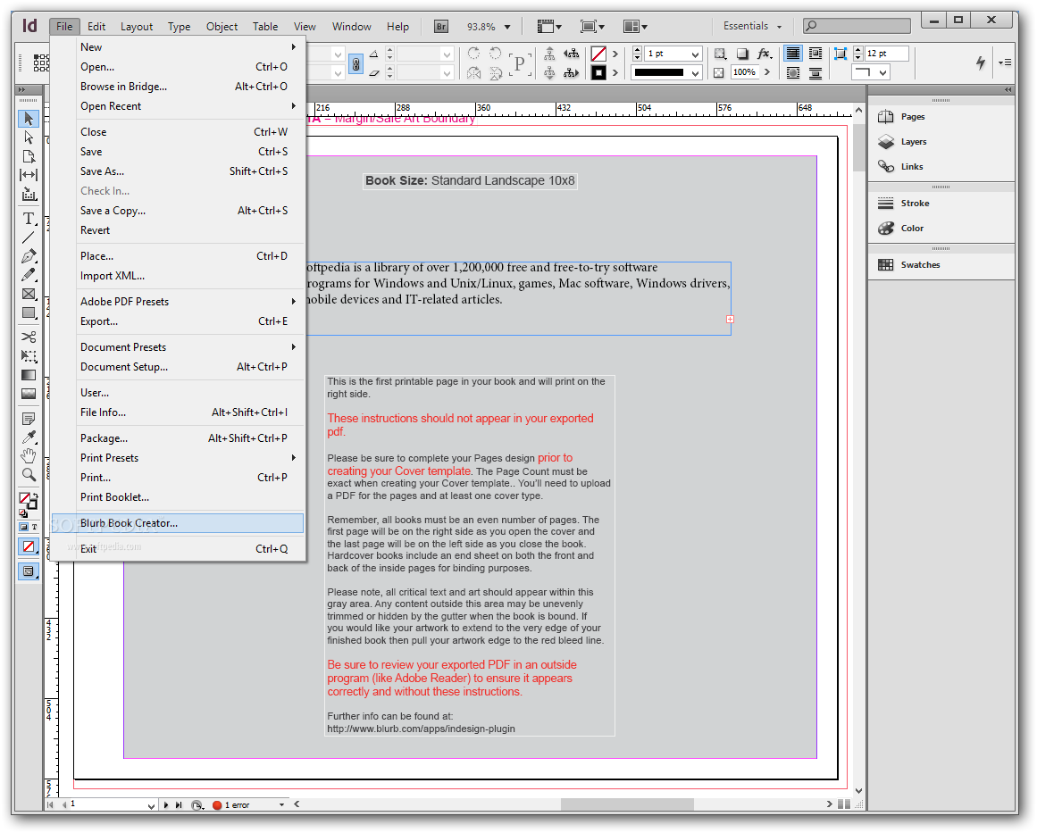 Blurb book creator download for Blurb indesign template