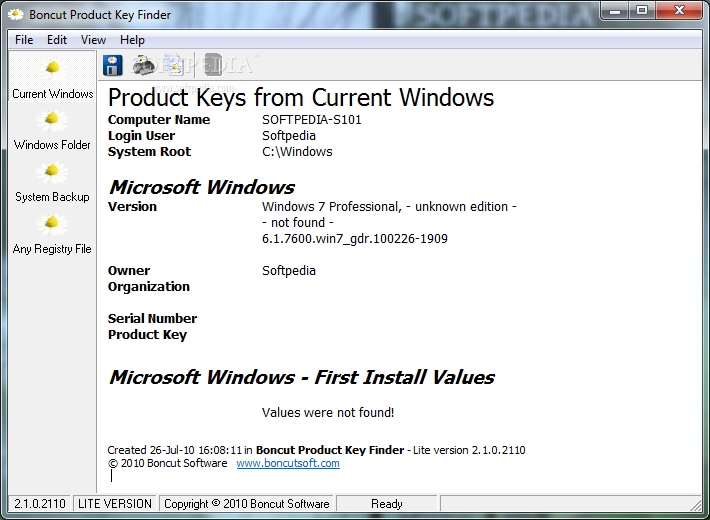 windows xp product key finder lite software