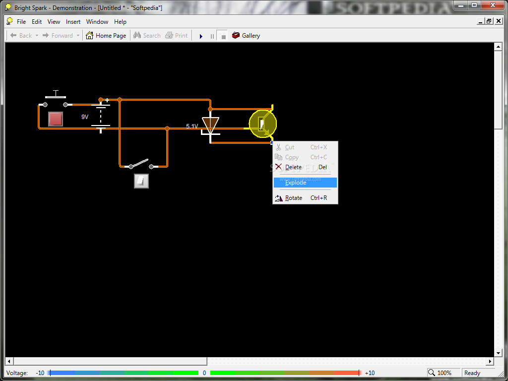 Download Bright Spark Professional Edition 120 Circuit Simulator Free Home Education Software The Main Window Of