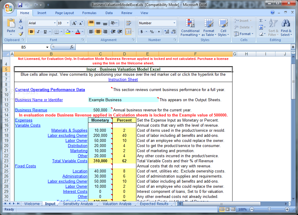 business valuation worksheet