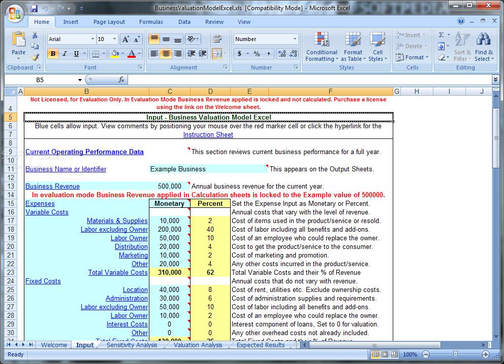 download business valuation model excel 60
