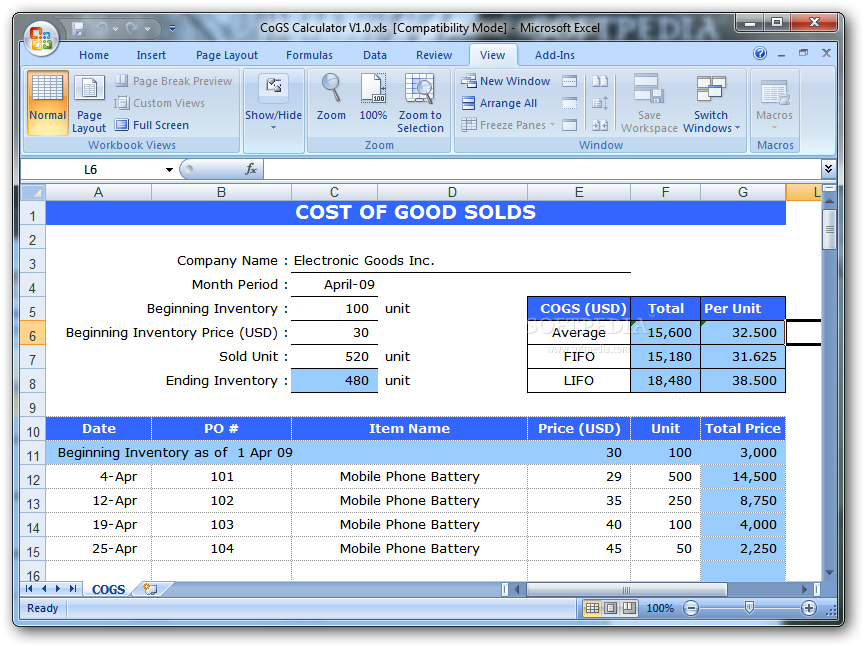 Cogs Calculator This Excel Template Allows You To Calculate The Cost Of Goods Sold Value