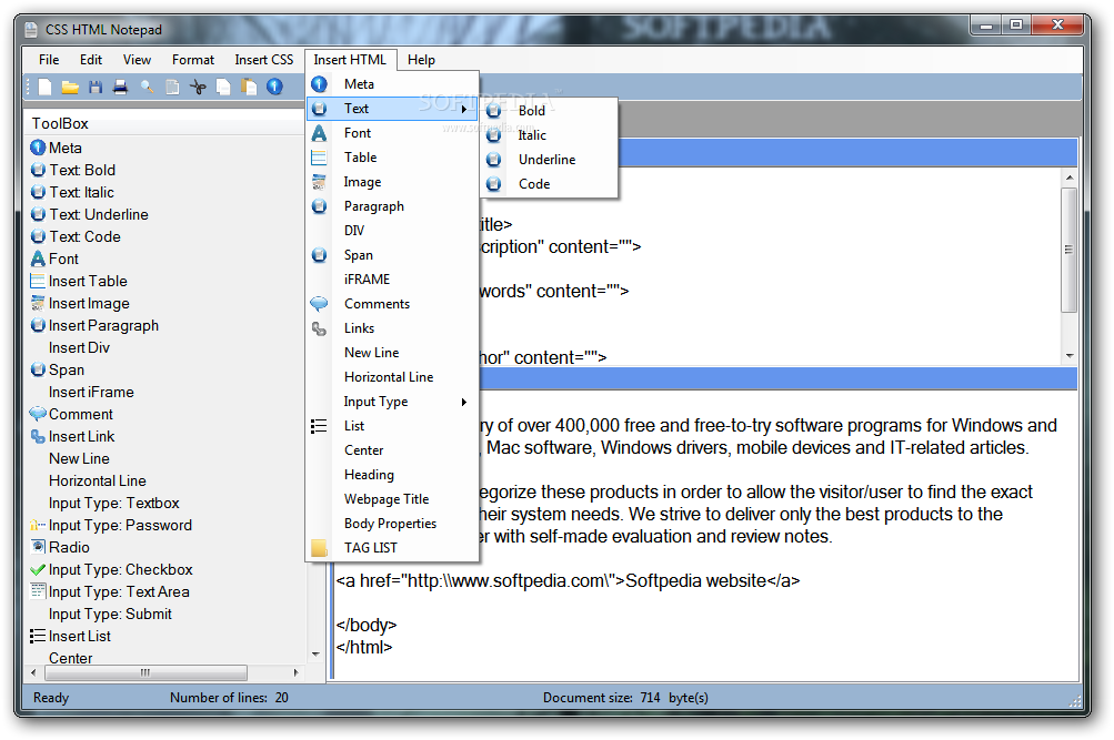 Download CSS HTML Notepad 1 0 0 0