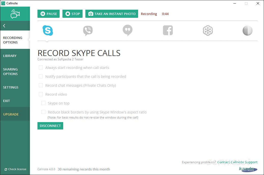 Callnote Premium screenshot 1 - By using Callnote Premium you are able to record Skype calls, then send them to your Dropbox or Evernote account