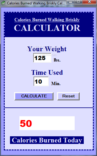 Download Calories Burned Walking Briskly Calculator 1.0