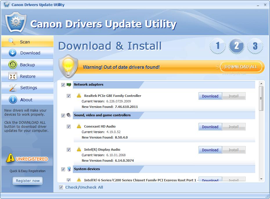 toshiba driver update utility key