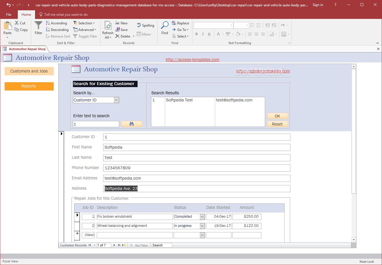 download automotive repair shop system database 1 0