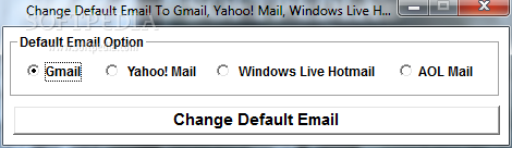 Default Email To Gmail, Yahoo! Mail, Windows Live Hotmail or AOL