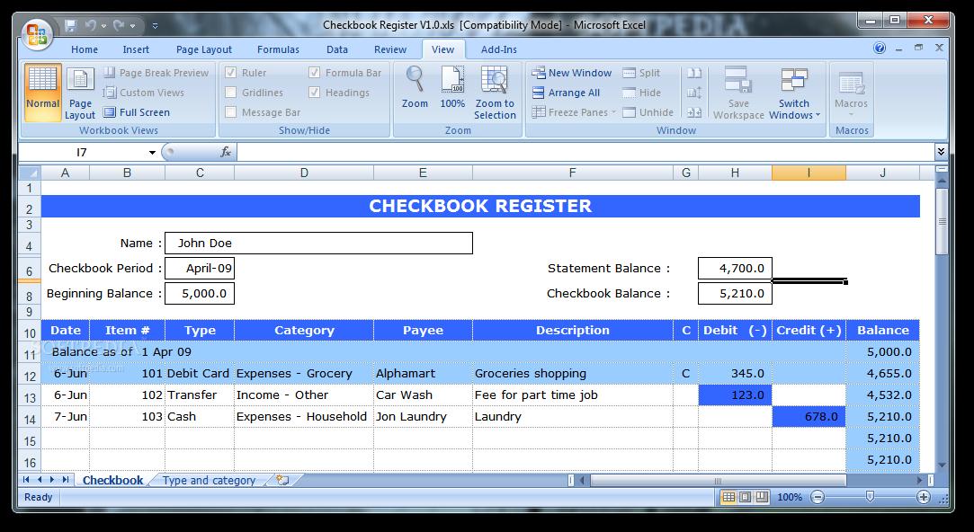 download checkbook register 1 0