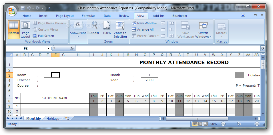 Download Class Monthly Attendance Report