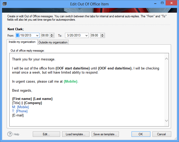 Codetwo out of office manager download - Out of the office message ...