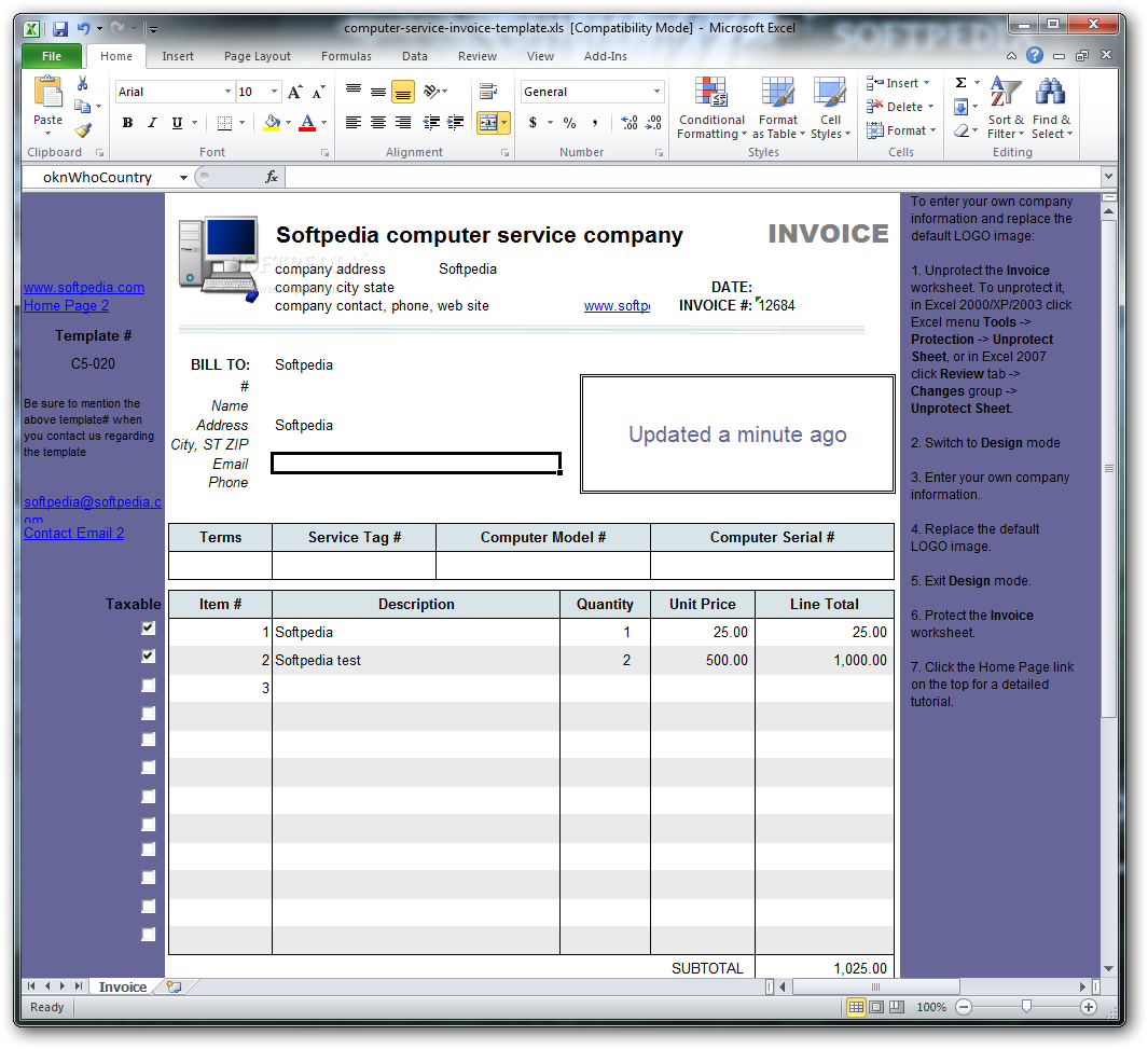 download computer service invoice template 1 10