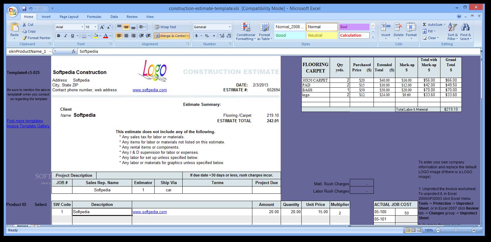 download construction estimate template