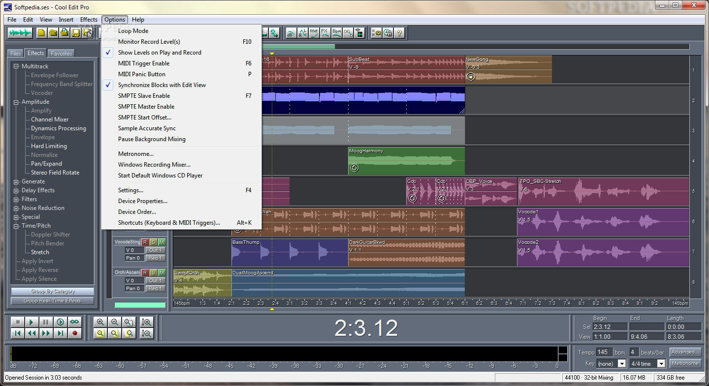 Professional audio editor and post production suite