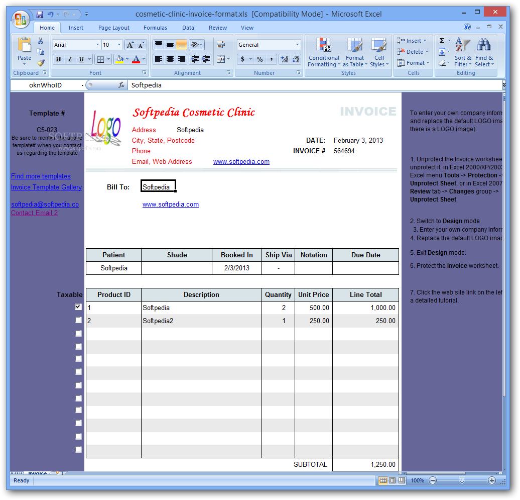 Download Cosmetic Clinic Invoice Format - Phone invoice template