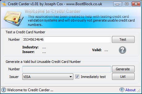 Credit Carder - The main window allows you to enter a credit card number and then