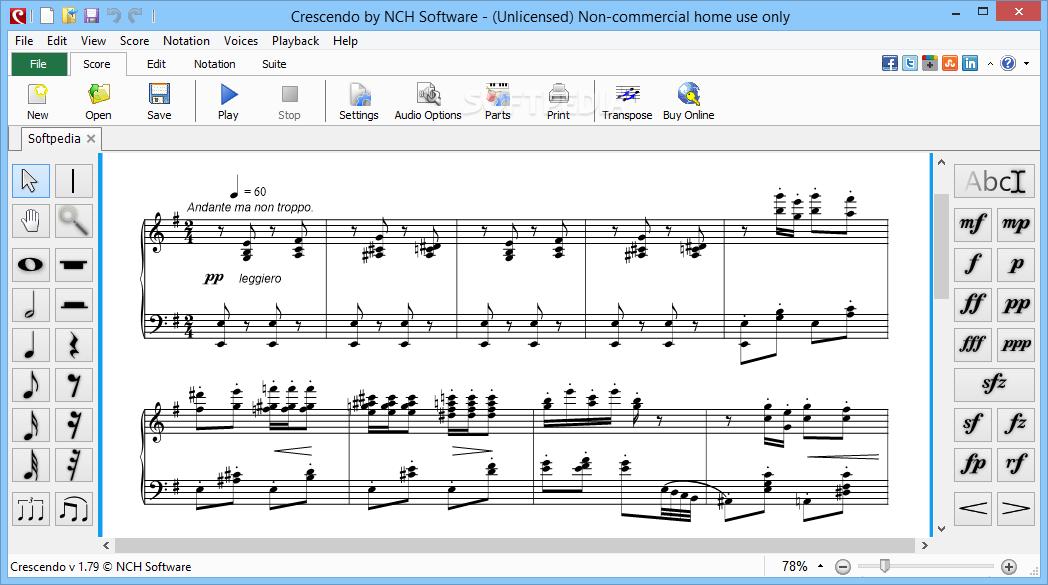 Download Crescendo Music Notation Editor 321 Beta