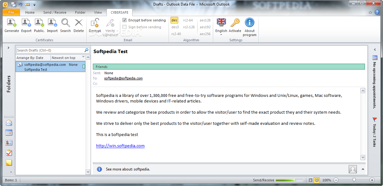 Download CyberSafe Email Encryption 1 0 7