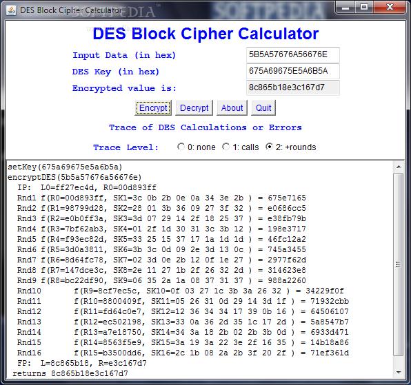 Download DES Block Chiper Calculator 2 0