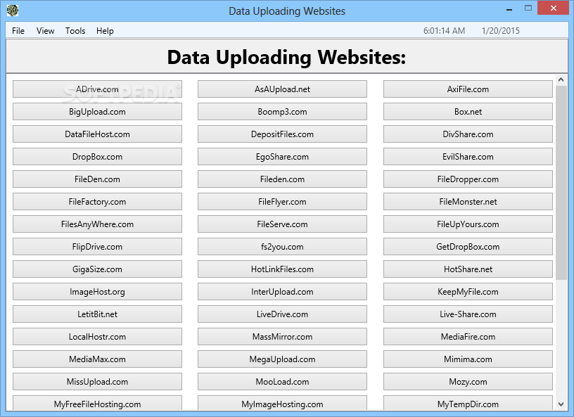 Data Uploading Websites - Screenshot