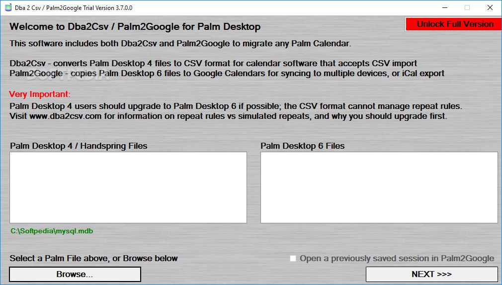 Download Dba 2 Csv / Palm2Google (formerly Dba2Csv) 3 7 0 0
