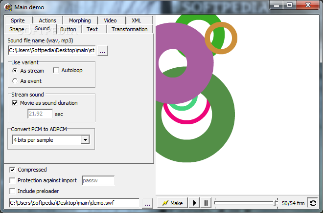 Delphi SWF SDK screenshot 2 - The Sound tab will display a list of options like Use variant, Stream sound or Convert PCM to ADPCM