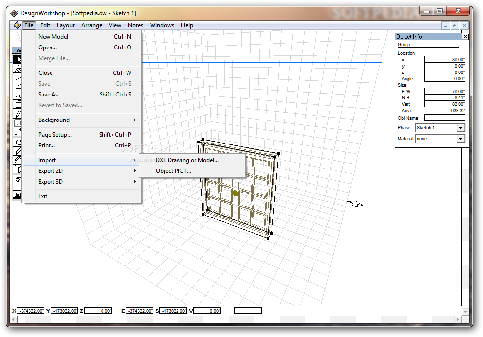 DesignWorkshop Lite screenshot 2 - Users will be able to access options such as New Model, Import or Export 2D / 3D within the File menu