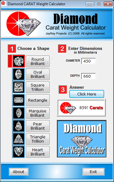 Download Diamond Carat Weight Calculator 1200