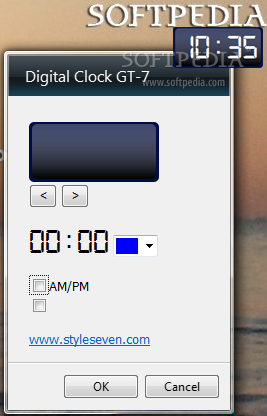 Digital Clock GT-7 screenshot 2 - The Settings window allows you to change the color of the numbers and the background style.