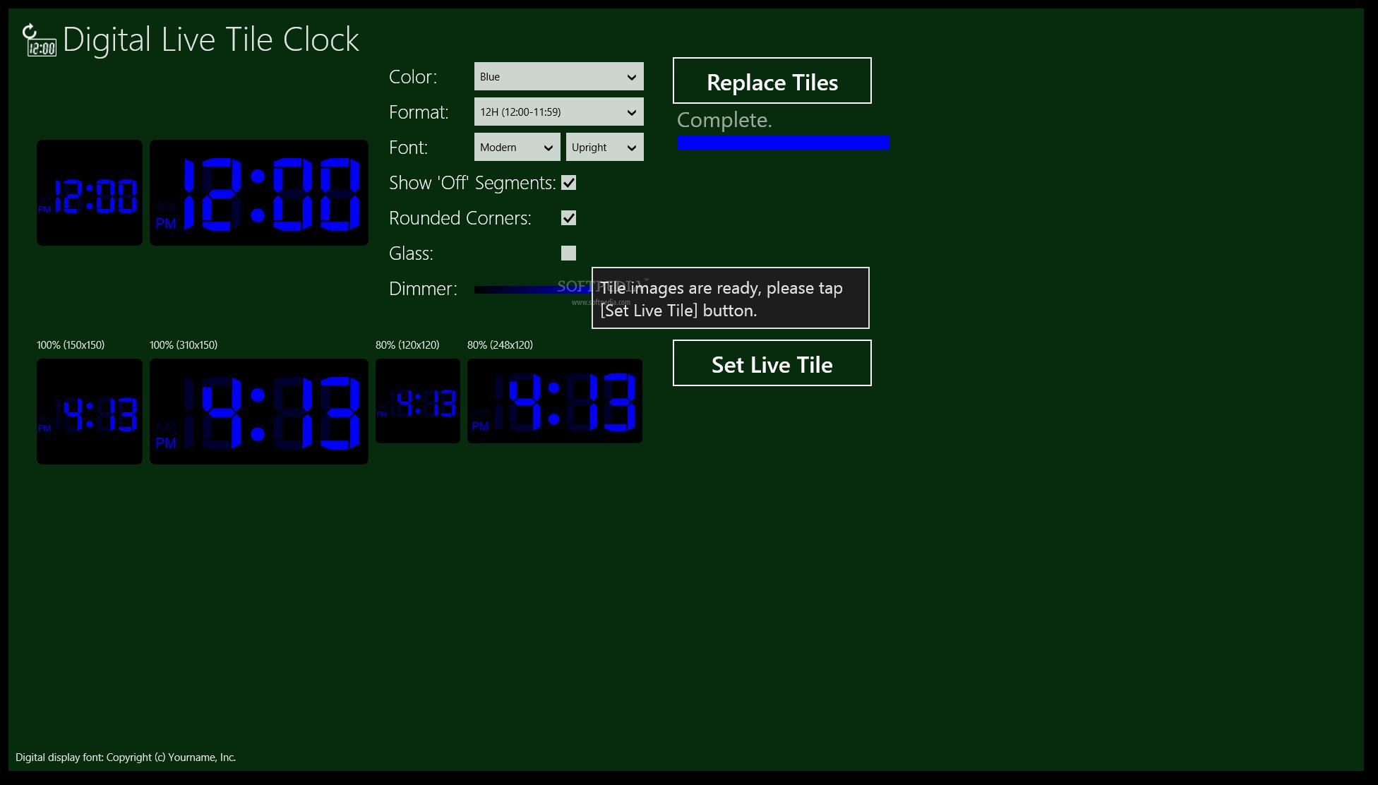 Download Digital Live Tile Clock For Windows 1081 1200