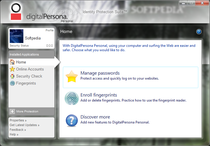 Download DigitalPersona Fingerprint Reader Software 5.1.0.175 A DigitalPersona Fingerprint Reader Software - This is the main window of  DigitalPersona Fingerprint Reader Software that