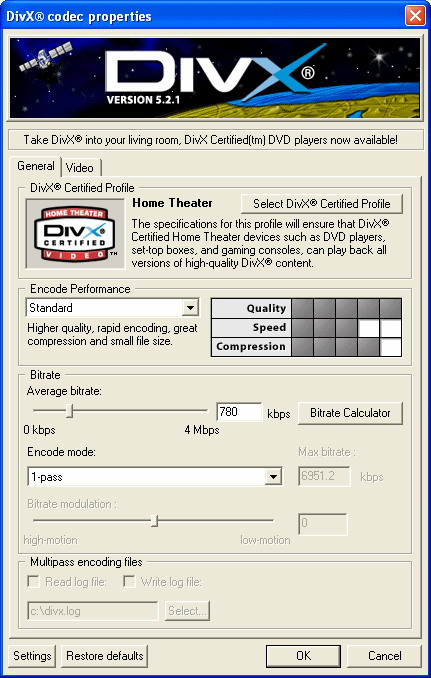 DivX Player (with DivX Codec) for 2K/XP screenshot 1