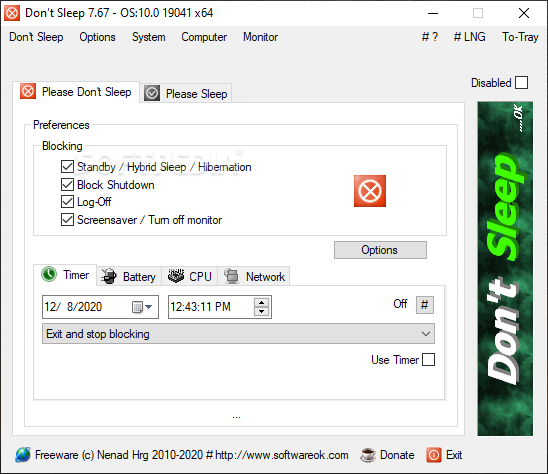 Don't Sleep screenshot 1 - The main window of Don't Sleep allows you to choose the actions you want to block.